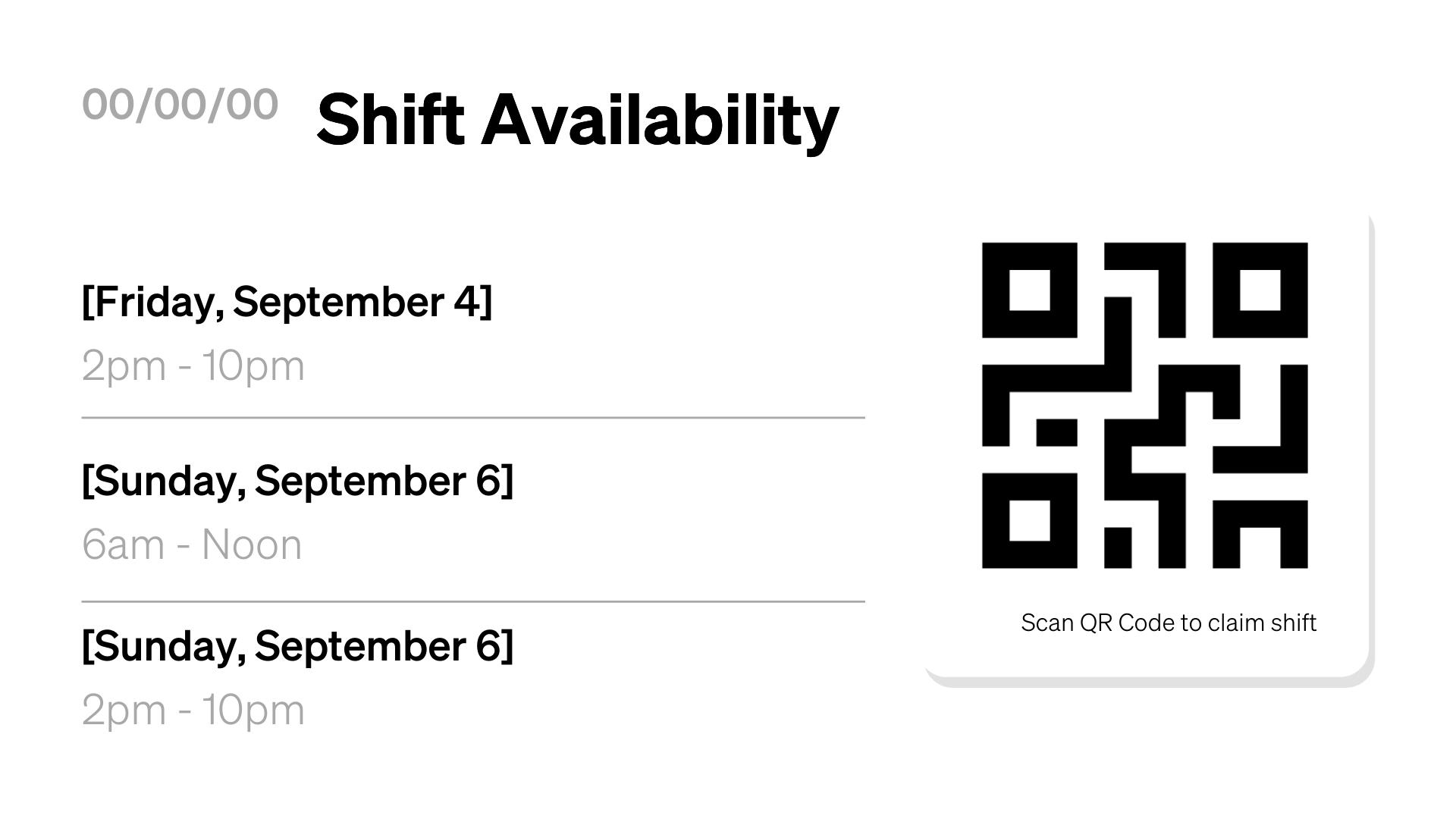 BOH Shift Availability